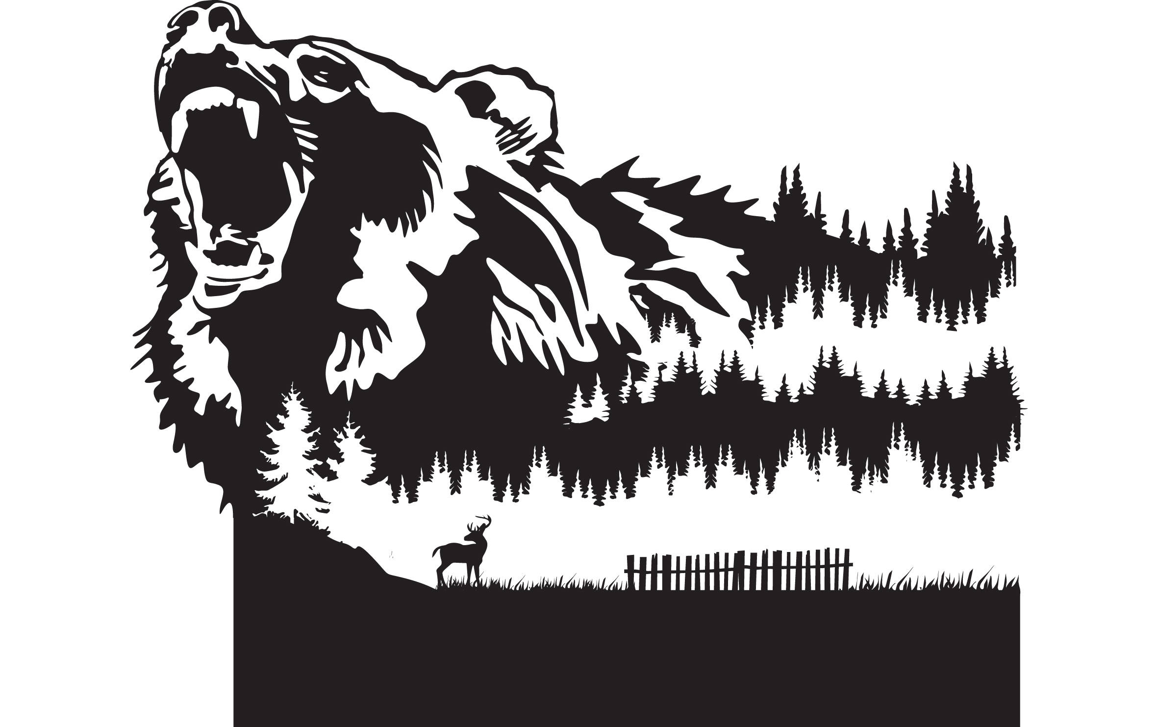 Bear scene clipart image black and white stock Download Free png Grizzly Bear 4 Nature Scene Deer Mountains Forest ... image black and white stock