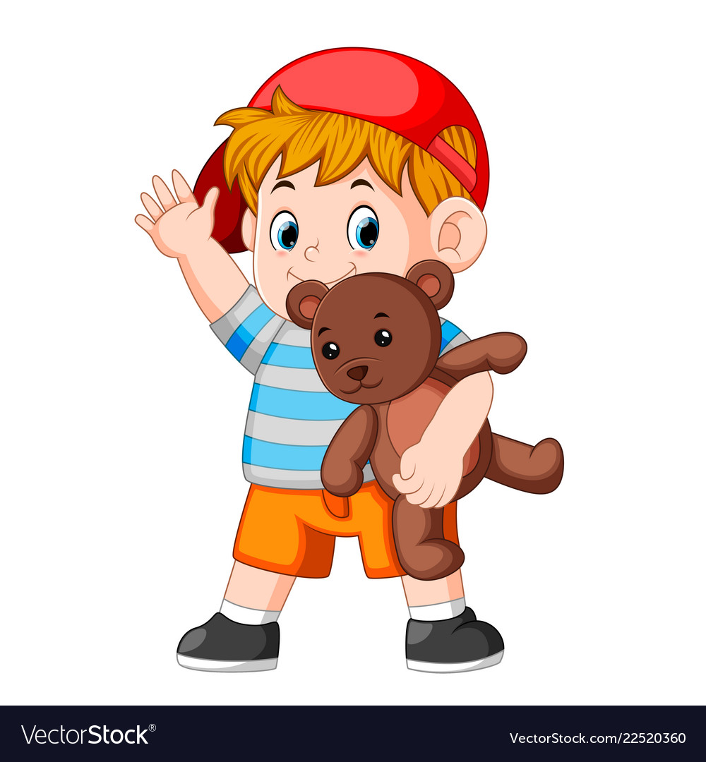 Bear with a boy clipart clip library download A boy funny play with the teddy bear clip library download