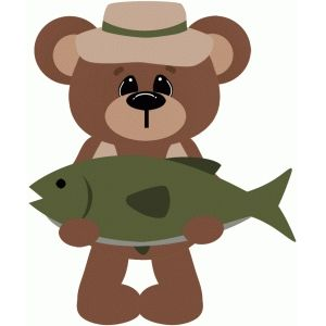 Bear with a fish clipart graphic freeuse download Gone fishing bear holding fish | Free Svg invites | Fish clipart ... graphic freeuse download