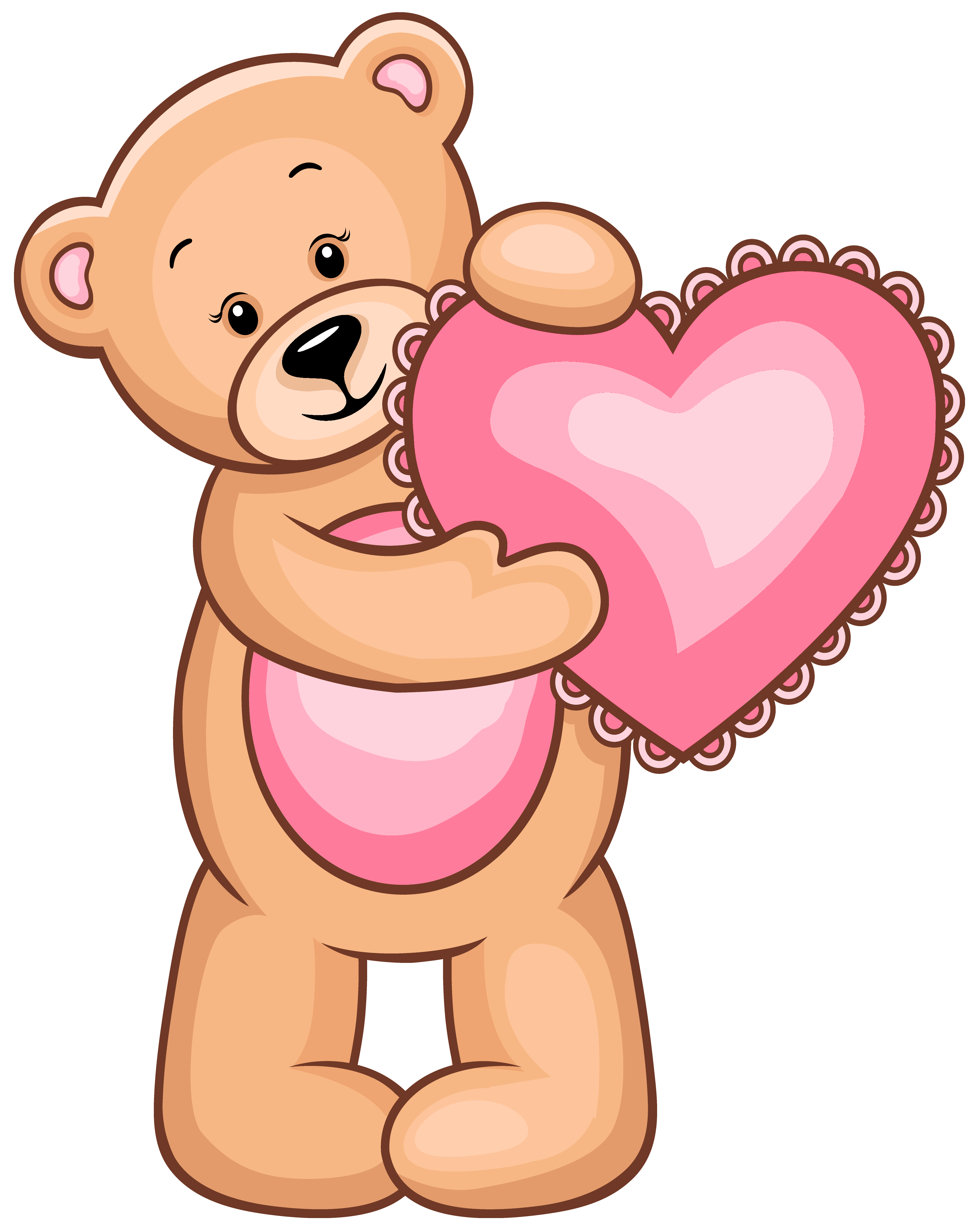 Holding heart clipart banner transparent Transparent Teddy Bear with Pink Heart PNG Clipart | Gallery ... banner transparent