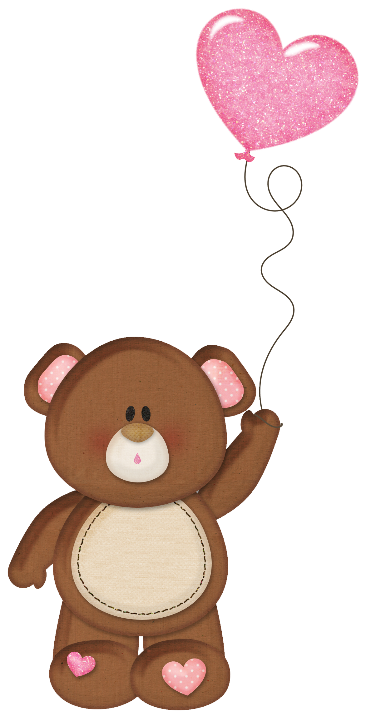 Brown cross clipart jpg transparent library Brown Teddy with Pink Heart Balloon PNG Clipart | Clip Art (Teddy ... jpg transparent library