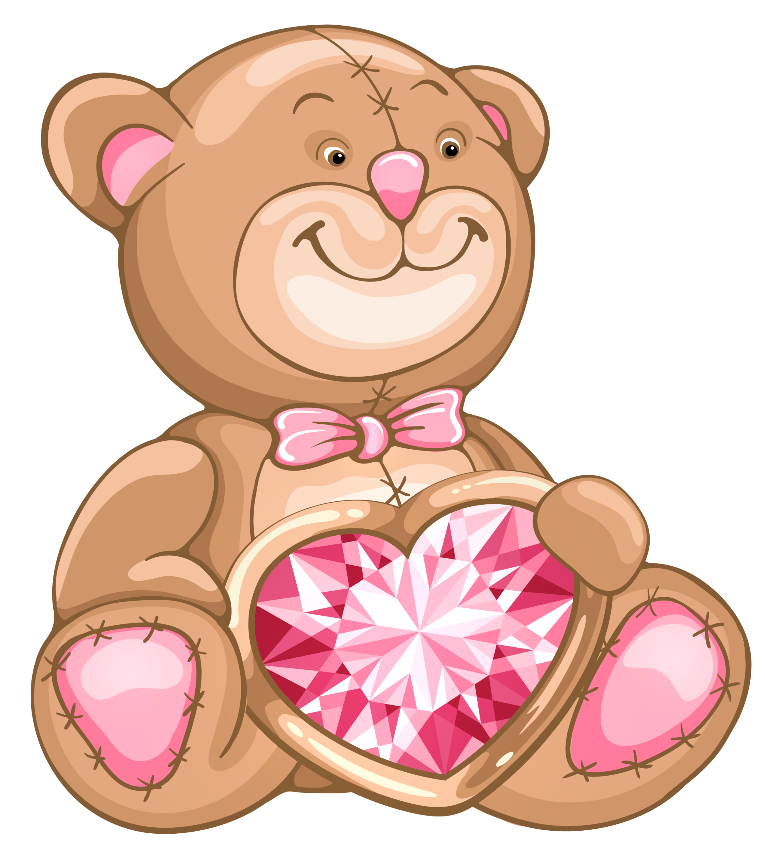 Clipart teddy bear with heart banner download Transparent Teddy Bear with Diamond Heart PNG Clipart | Gallery ... banner download