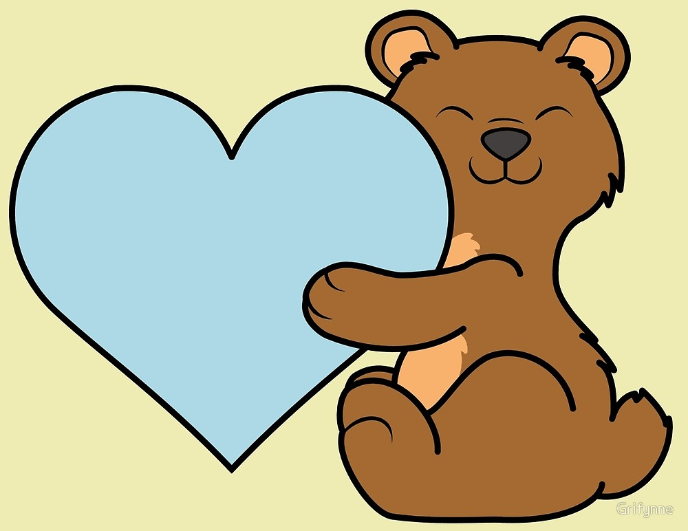 Bear with blue heart clipart clipart free Valentine\'s Day Brown Bear with Light Blue Heart\