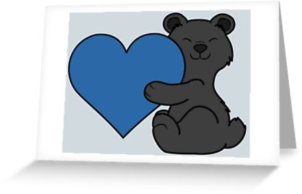 Bear with blue heart clipart clip stock \'Valentine\'s Day Black Bear with Blue Heart\' Greeting Card by Grifynne clip stock