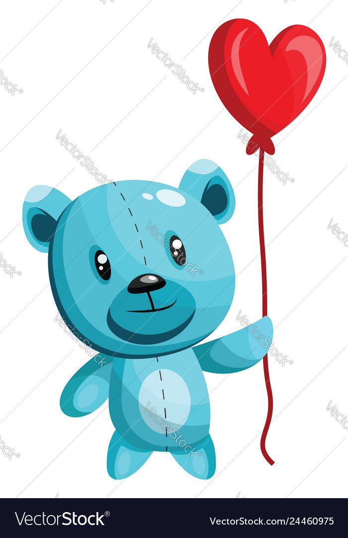 Bear with blue heart clipart picture royalty free library Blue bear holding a heart shaped red balloon on picture royalty free library