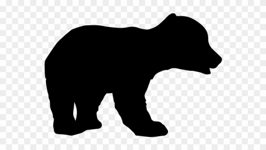 Bear with cub clipart silhouette clip art black and white library Cub Clipart Walking Bear - Animal Silhouettes - Png Download ... clip art black and white library