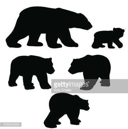 Bear with cub clipart silhouette vector free library Polar bear silhouettes with cub. | Pillows with Flair | Bear ... vector free library