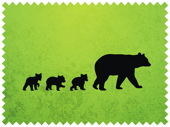 Bear with cub clipart silhouette jpg library Black Bear Mother and Her Cubs Clipart, Black Bear SVG for Cutting ... jpg library