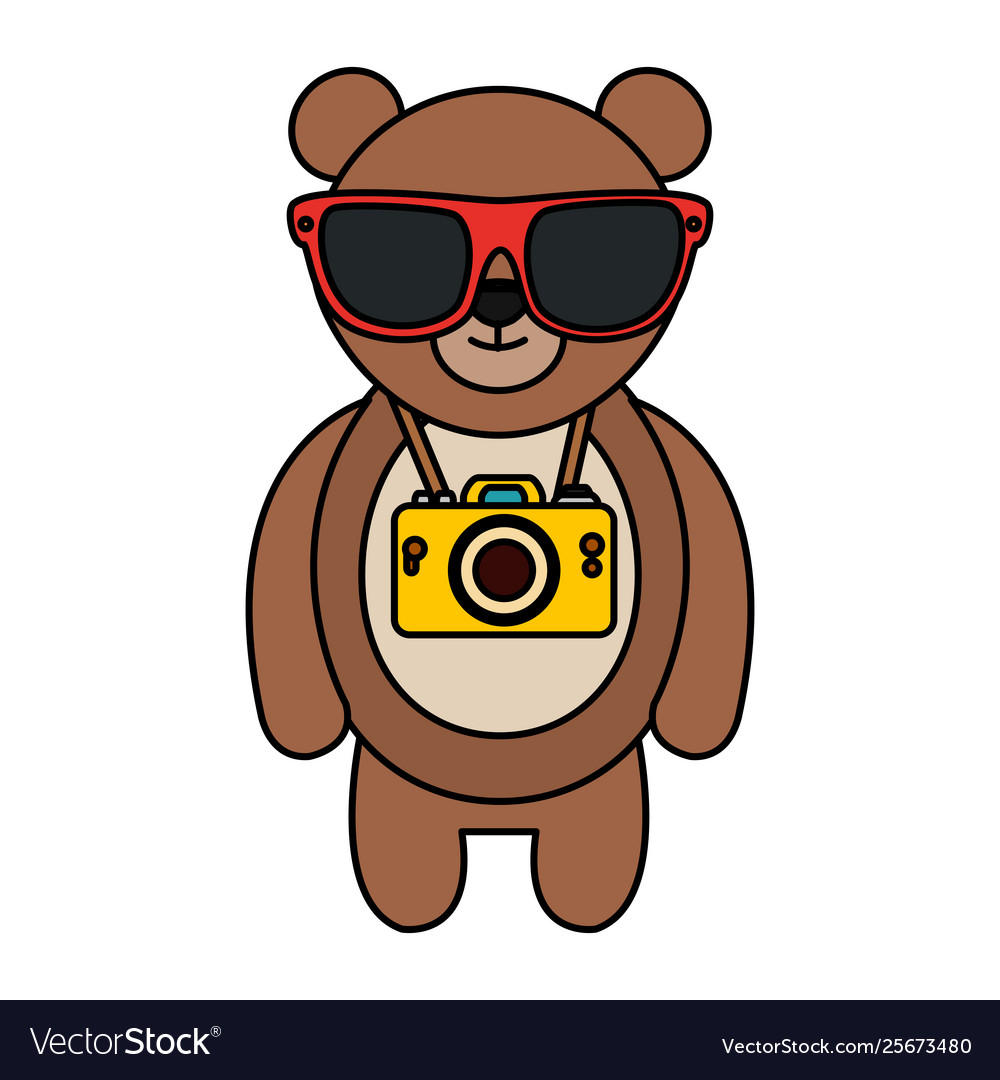Bear with glasses honey clipart free library Bear with summer sunglasses and photographic vector image free library