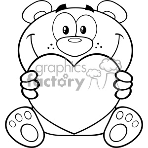 Bear with heart clipart black and white clipart black and white library 10677 Royalty Free RF Clipart Black And White Teddy Bear Cartoon Mascot  Character Holding A Valentine Love Heart Vector Illustration clipart. ... clipart black and white library