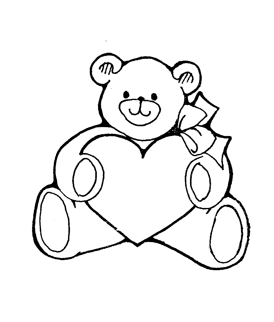 Bear with heart clipart black and white vector Teddy Bear With Heart Black And White vector