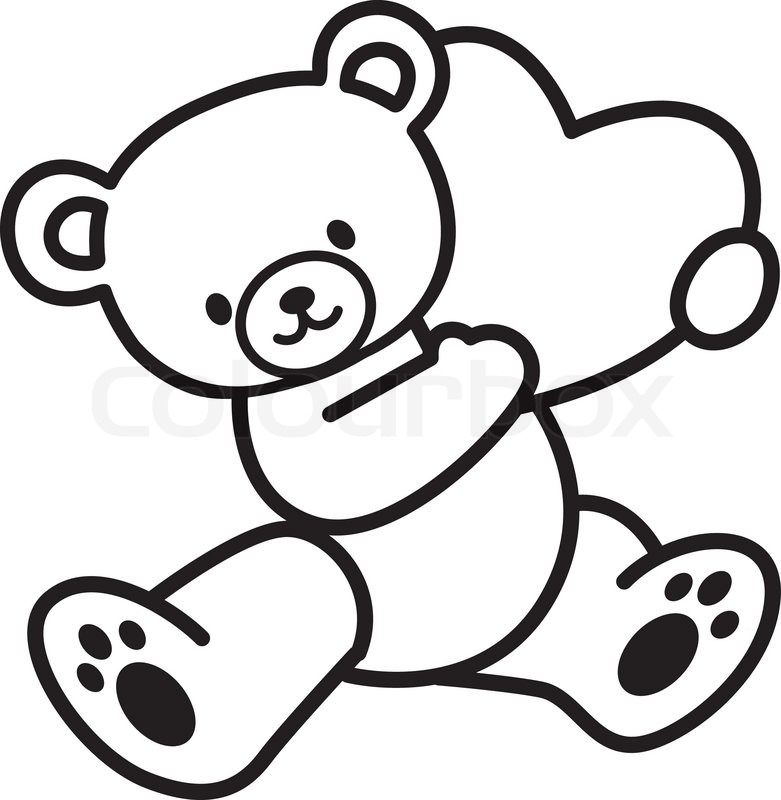 Bear with heart clipart black and white graphic free download Teddy Bear Clipart Black And White | Free download best Teddy Bear ... graphic free download