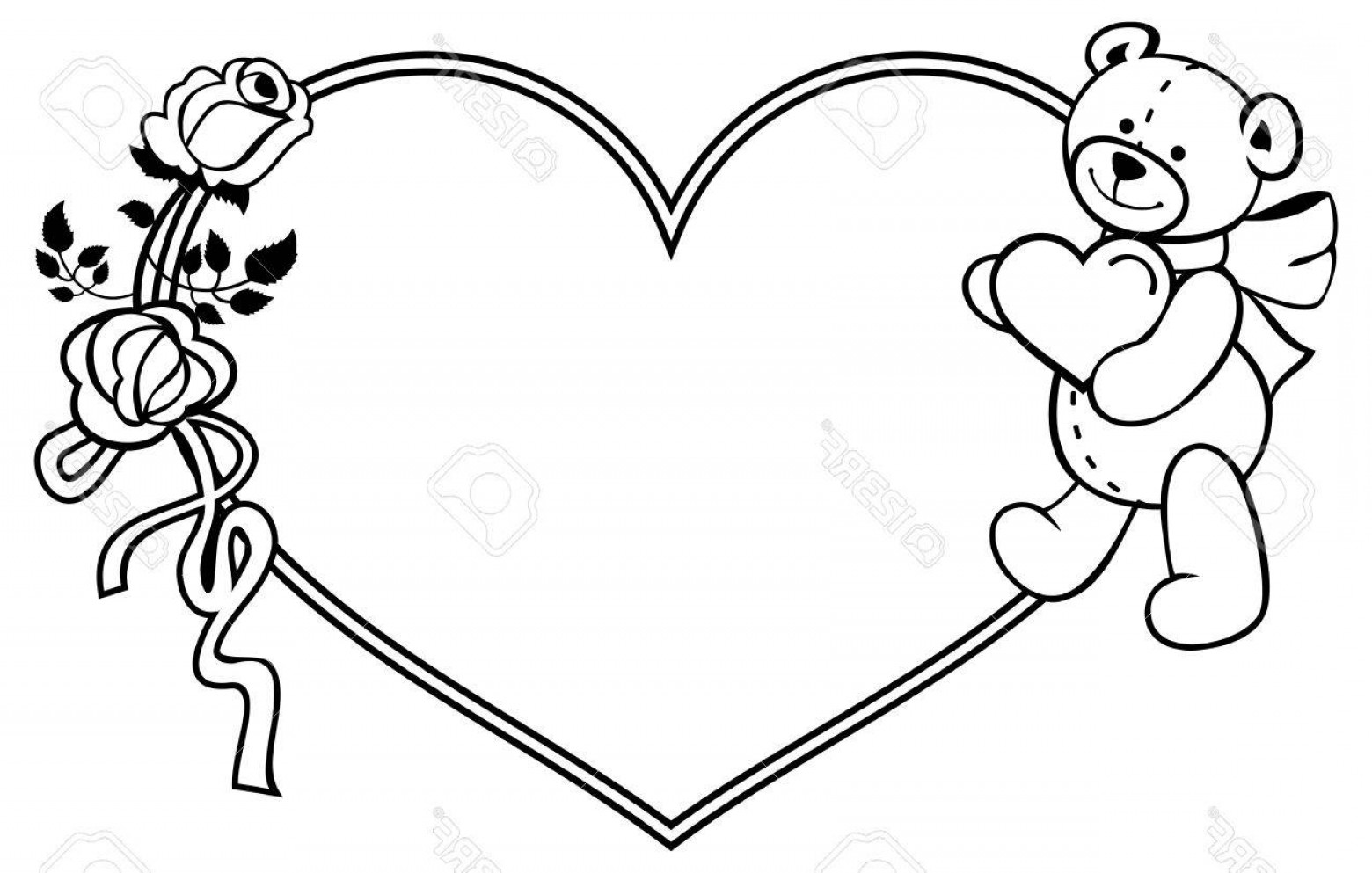 Bear with heart clipart black and white graphic freeuse Photostock Vector Heart Shaped Frame With Outline Roses Teddy Bear ... graphic freeuse