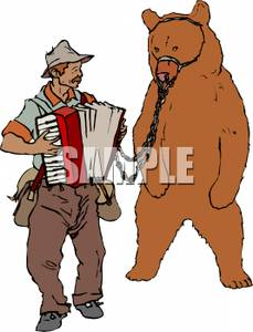 Bear with leash free clipart graphic A Large Brown Bear Wearing a Muzzle and a Leash, Being Walked By a ... graphic
