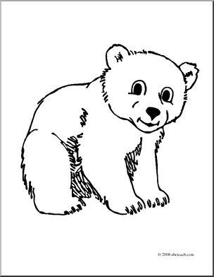 Bearcub clipart royalty free stock Clip Art: Cartoon Polar Bear Cub (coloring page) I abcteach.com ... royalty free stock