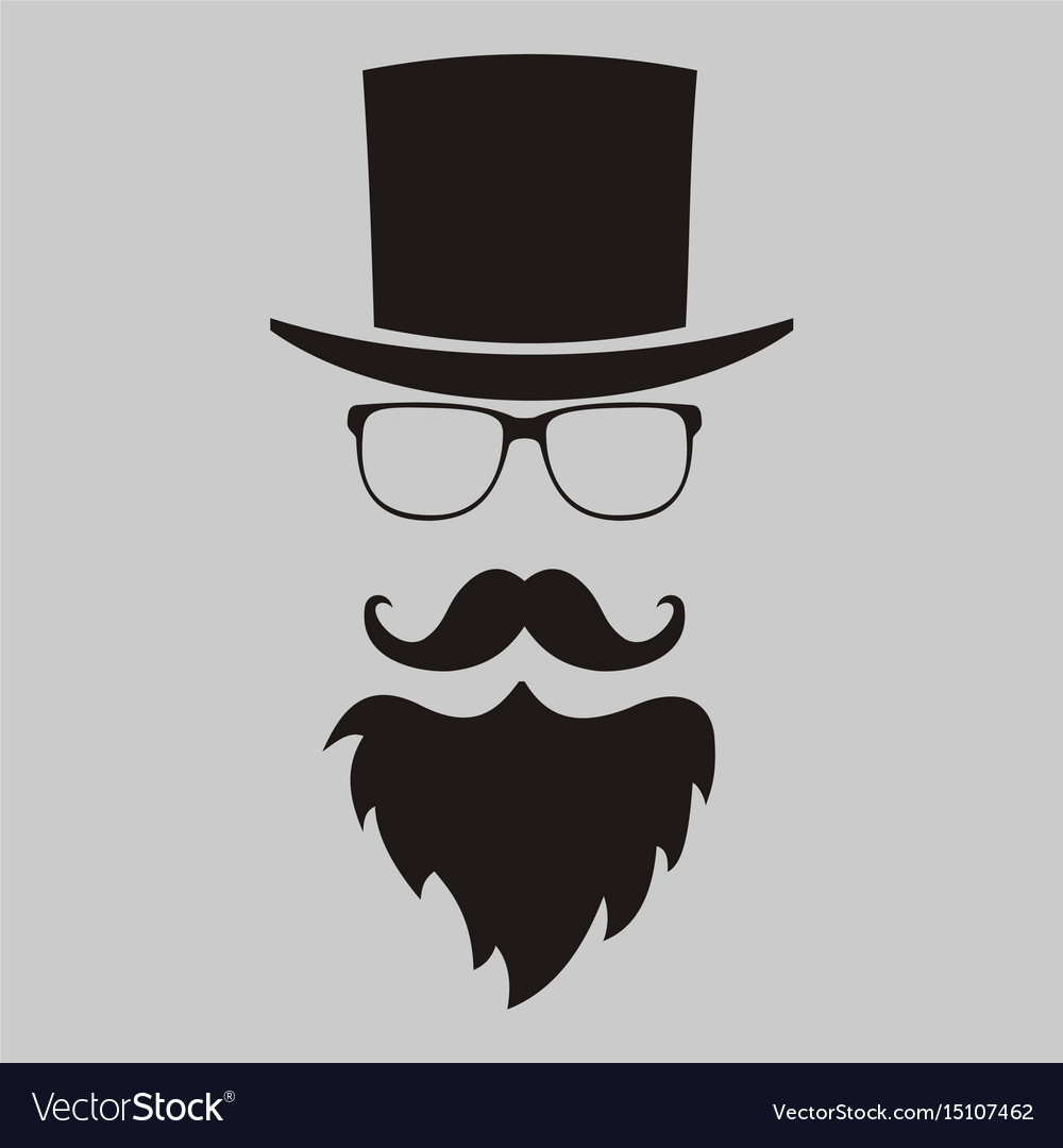 Beard clipart hipster hat banner free Hipster elements hat glasses beard and mustache banner free