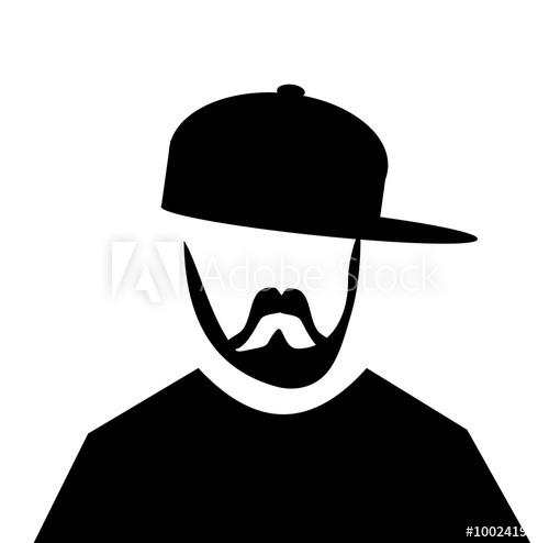 Beard clipart hipster hat jpg royalty free library hipster man with beard wearing baseball cap sideways - Buy this ... jpg royalty free library