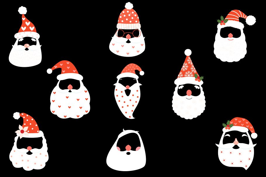 Beard clipart hipster hat svg freeuse Cute hipster Santa face mask clipart with hat beard mustache svg freeuse