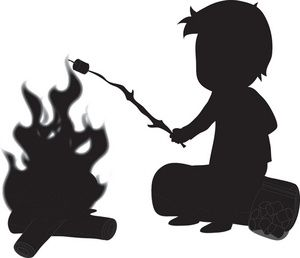 Bears toasting marshmellows clipart image free library Camping Clipart Image: Silhouette of a Boy Roasting Marshmallow on a ... image free library