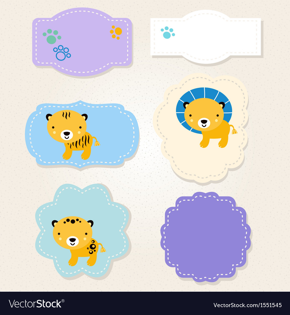 Beautiful baby boy clipart vector freeuse library Cute Safari animals tags collection for baby boy vector freeuse library