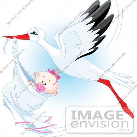Beautiful baby girl clipart image download Royalty-Free (RF) Clip Art Illustration Of A Beautiful Stork ... image download