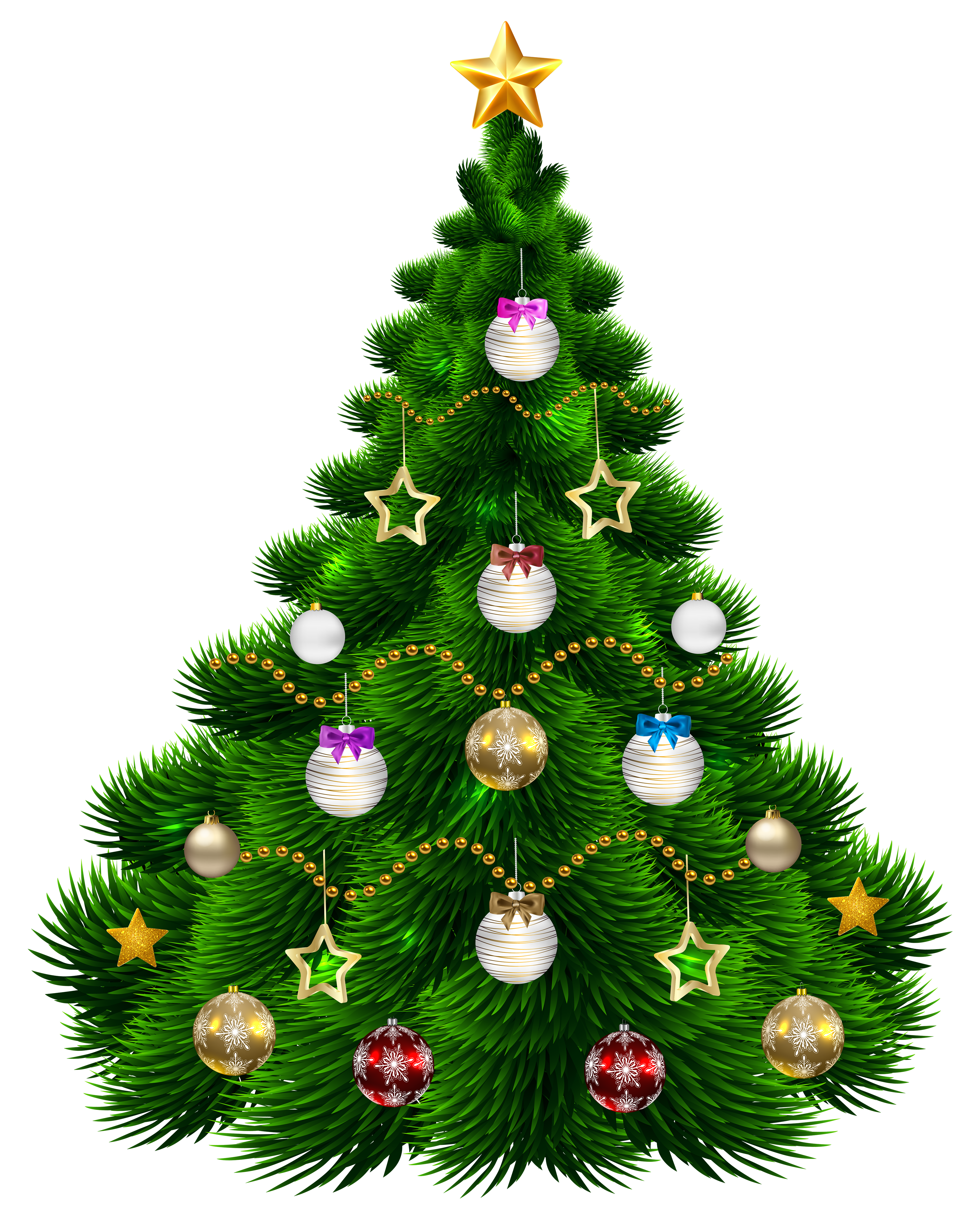 Beautiful christmas star clipart clipart royalty free library Beautiful Christmas Tree with Ornaments PNG Clip-Art Image ... clipart royalty free library