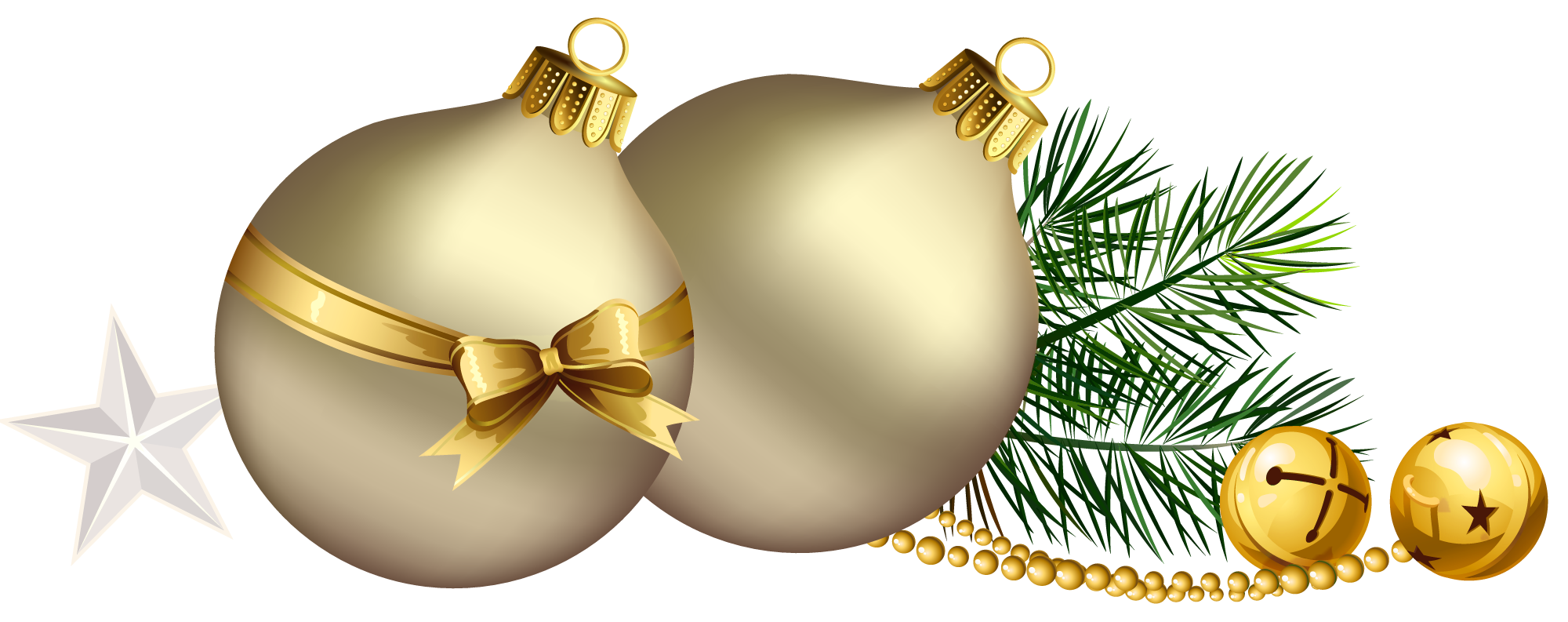 Christmas tree star clipart svg library download Christmas Balls with Pine Branch and Star Clipart | Gallery ... svg library download