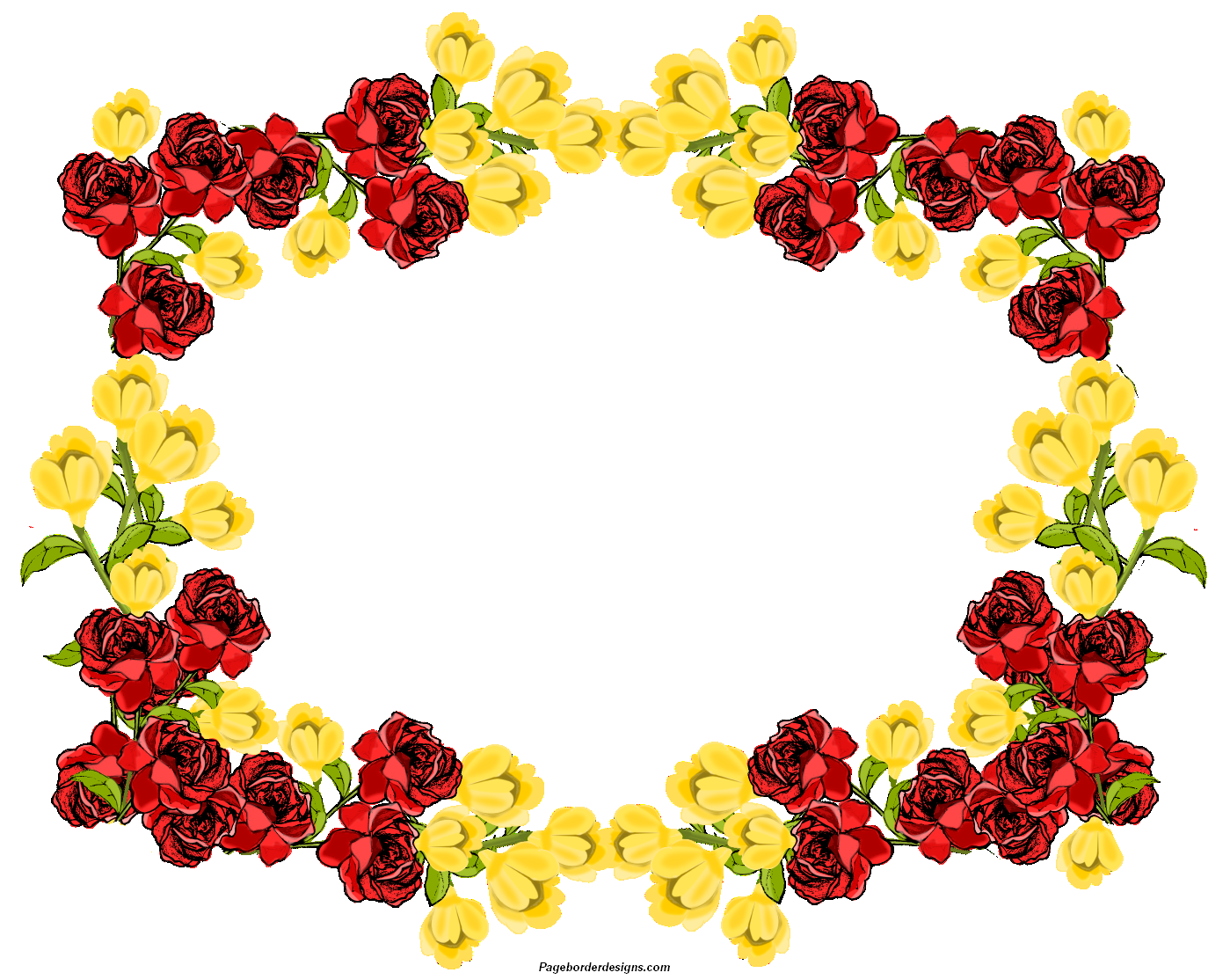 Beautiful clip art borders jpg free library Beautiful Red and yellow Clip Art Flowers Frame Border Design 2014 ... jpg free library