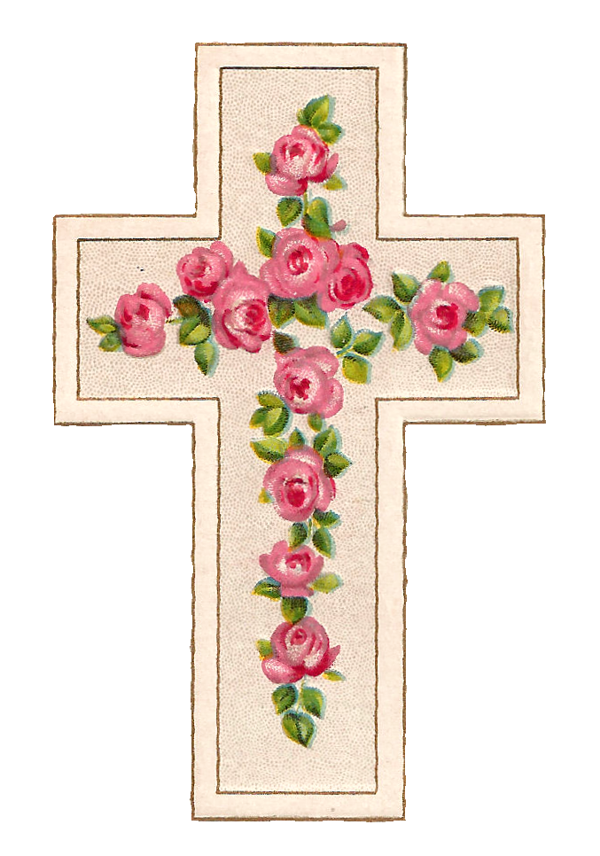 Cross flowers clipart graphic royalty free download Antique Images: Free Digital Easter Graphics of Cross with Pink ... graphic royalty free download