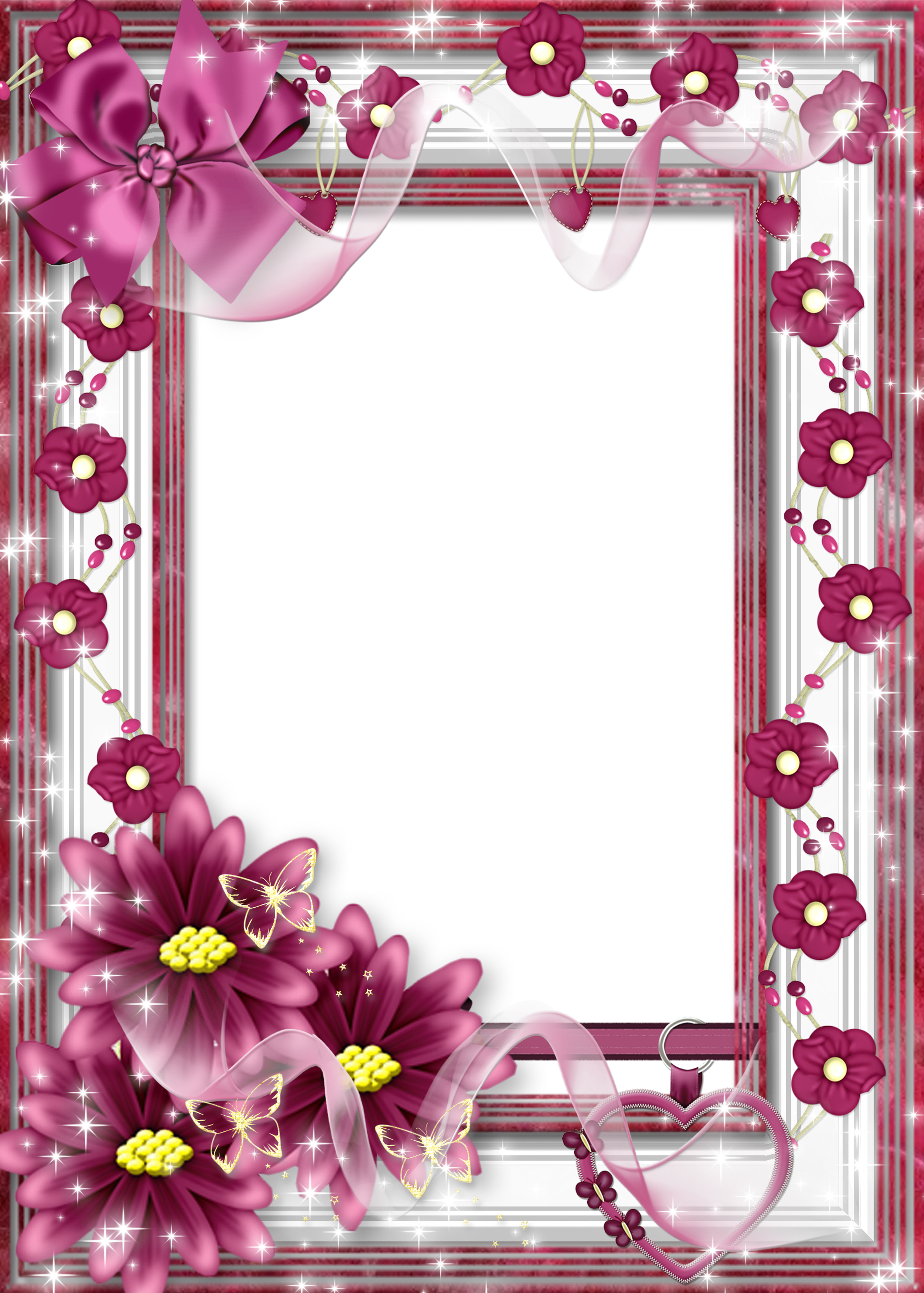 Beautiful frames clipart image free download Beautiful Flower Transparent Frame with Pink Bow | Gallery ... image free download
