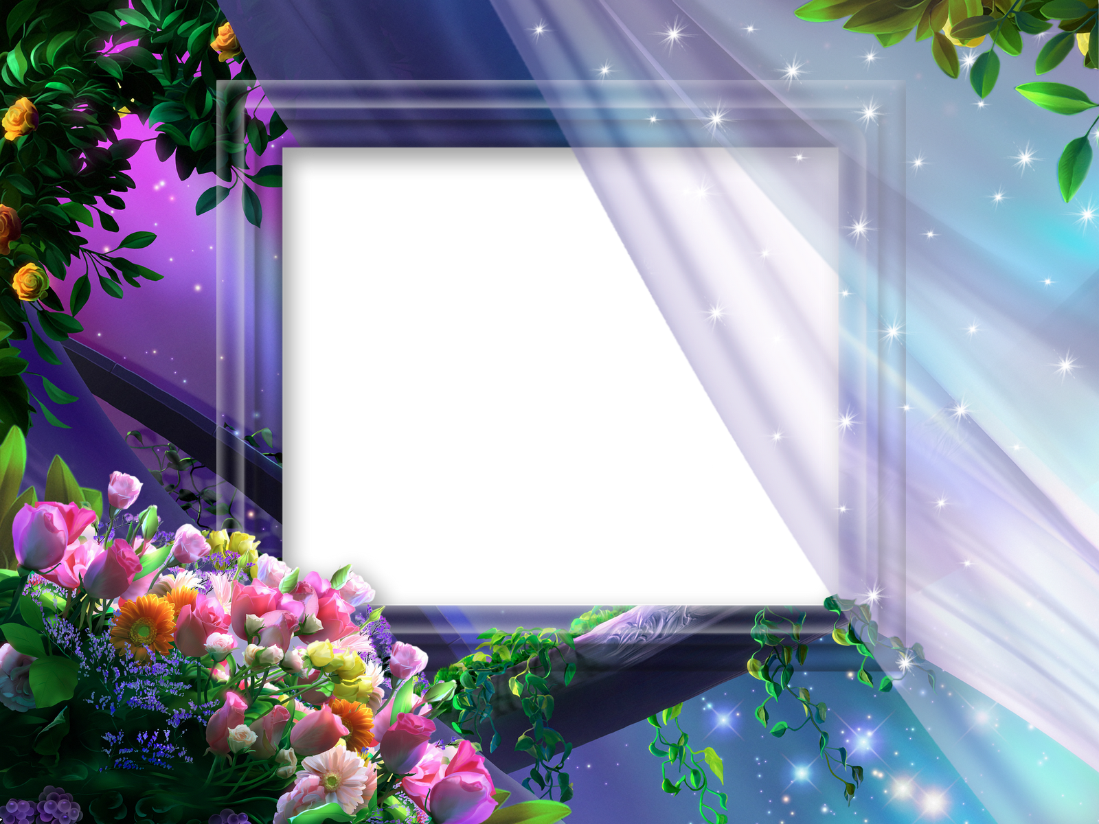 Beautiful frames clipart clip black and white stock Beautiful Night Flowers Transparent Princess Photo Frame | Gallery ... clip black and white stock