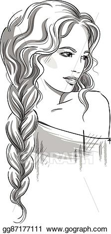 Beautiful girl clipart black and white clip freeuse stock Vector Clipart - Beautiful girl with braid. Vector Illustration ... clip freeuse stock