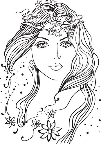 Beautiful girl clipart black and white vector royalty free stock Beautiful Girl Line Art premium clipart - ClipartLogo.com vector royalty free stock