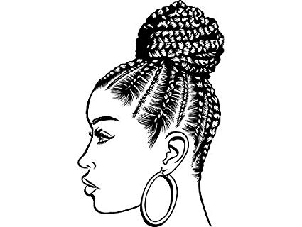 Black person with black braids hair clipart jpg royalty free Amazon.com: EvelynDavid Black Woman Braids Hairstyle Stylish ... jpg royalty free