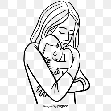 Free black and white clipart mother and child. Images png format clip