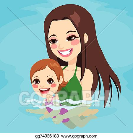 Beautiful mom with baby clipart jpg transparent stock EPS Vector - Mom teaching baby girl swimming. Stock Clipart ... jpg transparent stock