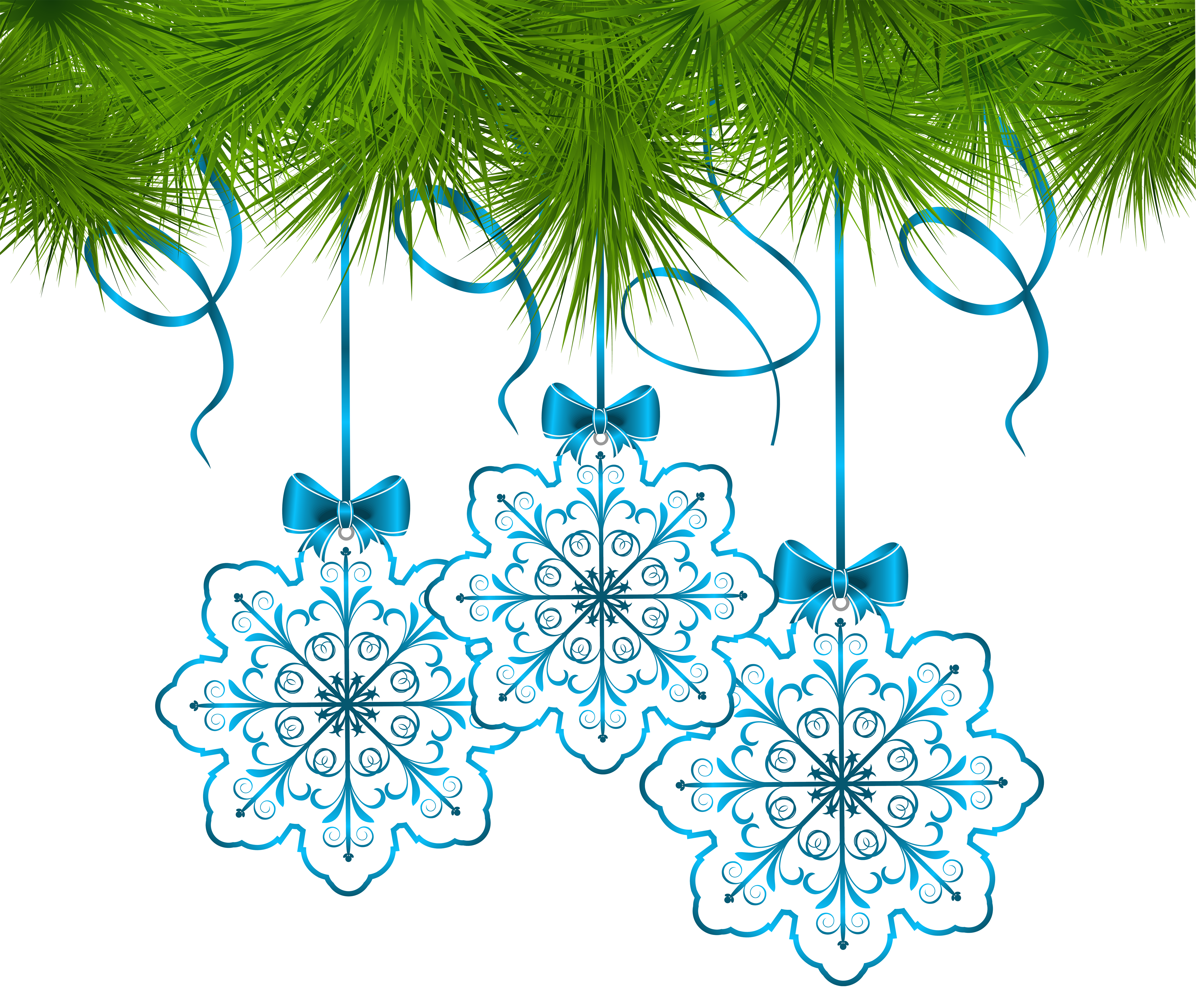 Blue snowflake free banner clipart clipart black and white stock Christmas Pine Decor with Snowflakes Ornaments PNG Clip Art Image ... clipart black and white stock