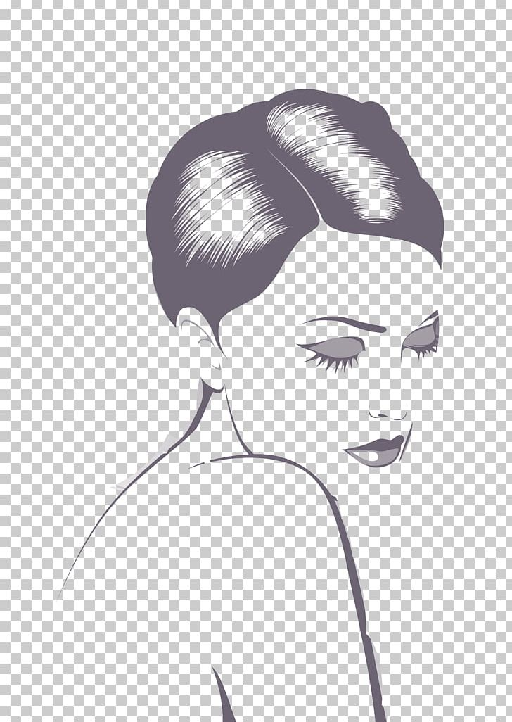 Beautiful woman clipart png black and white png black and white Black And White Drawing Woman Illustration PNG, Clipart, Black Hair ... png black and white