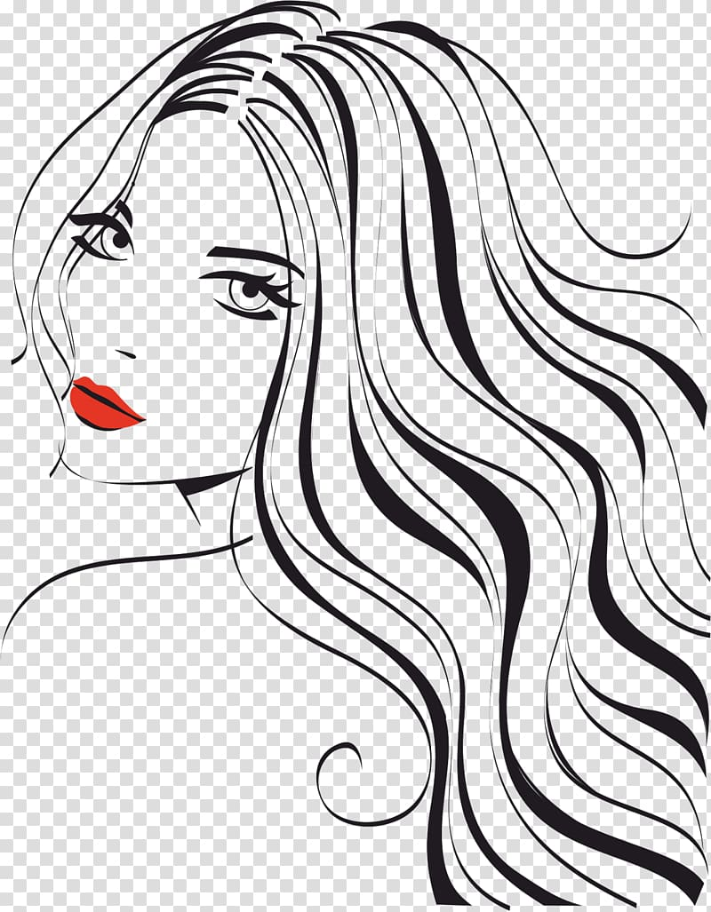 Beautiful woman clipart png black and white graphic library library Woman with red lips illustration, Woman Beauty Parlour ... graphic library library