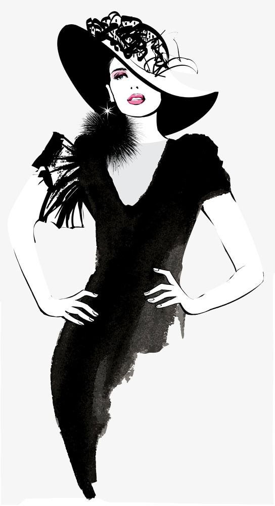 Fashion clipart png image black and white stock Hand-painted Fashion Woman, Fashion Clipart, Woman Clipart, Hand ... image black and white stock