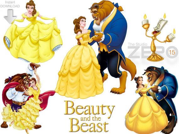 Beauty and beast clipart svg royalty free 15 Disney Beauty and the Beast Clipart (15 PNG + 15 JPEG + 15 Mirror ... svg royalty free