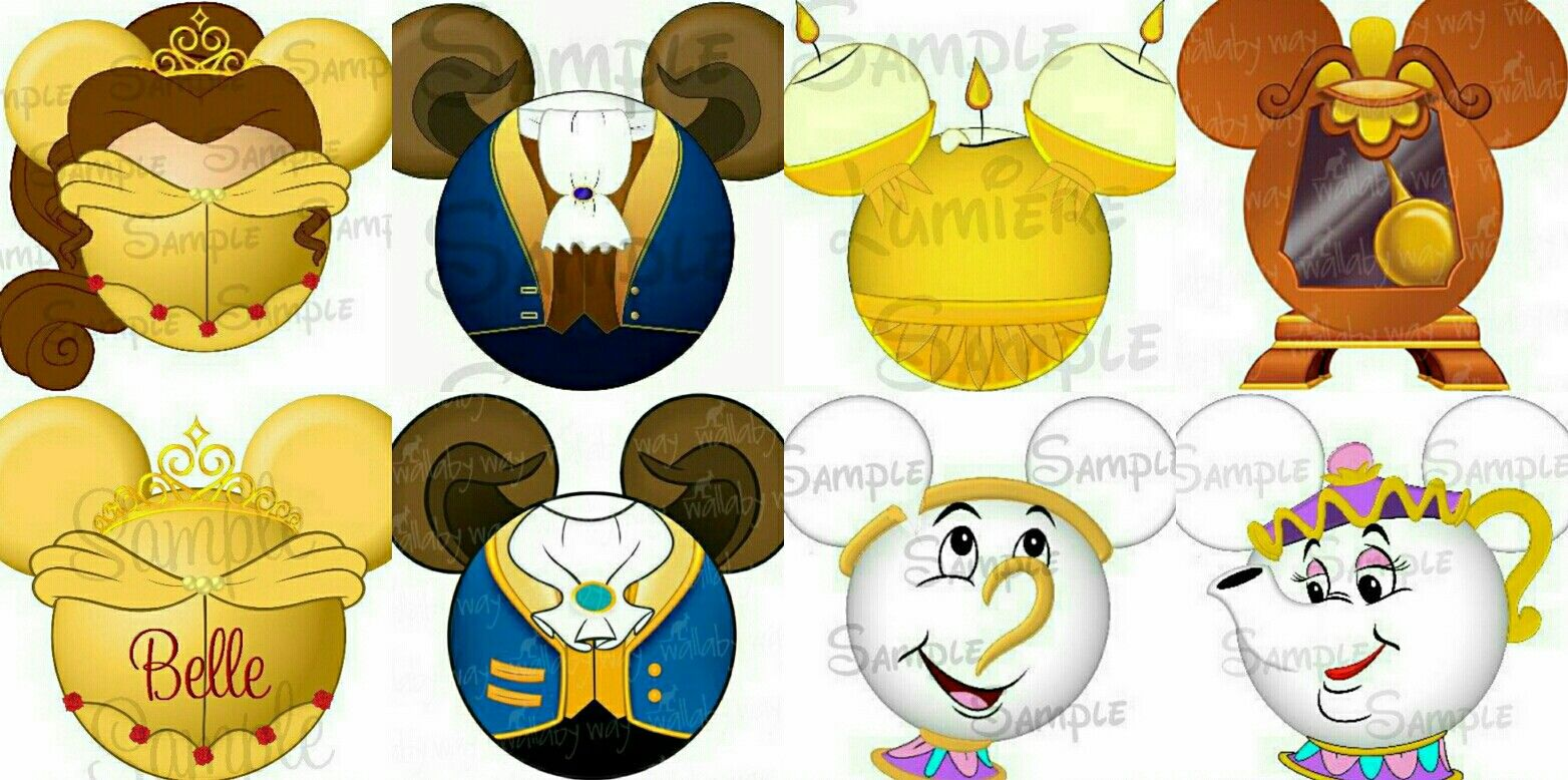 Beauty and beast heads clipart png library stock Beauty and the Beast Mickey Mouse Head Ears - Beast, Belle, Lumiere ... png library stock