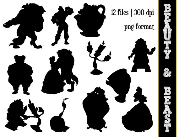 Beauty and the beast chip clipart black and white silhousette clip art library Beauty & the Beast Silhouettes // Disney Princess Belle Silhouette ... clip art library
