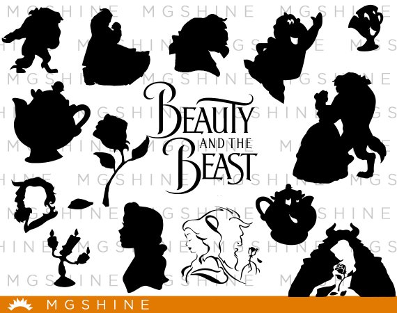 Beauty and the beast chip clipart black and white silhousette graphic Beauty and the Beast SVG for Cricut, Silhouette - Beauty and the ... graphic