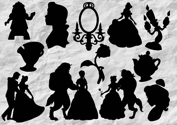 Beauty and the beast chip clipart black and white silhousette banner library library 12 Beauty and the Beast Silhouettes Beauty and the Beast SVG ... banner library library