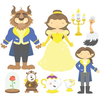 Beauty and the beast clipart -disney clip art transparent stock Fairy Tale Beauty And The Beast Digital Clipart & Vector Set clip art transparent stock