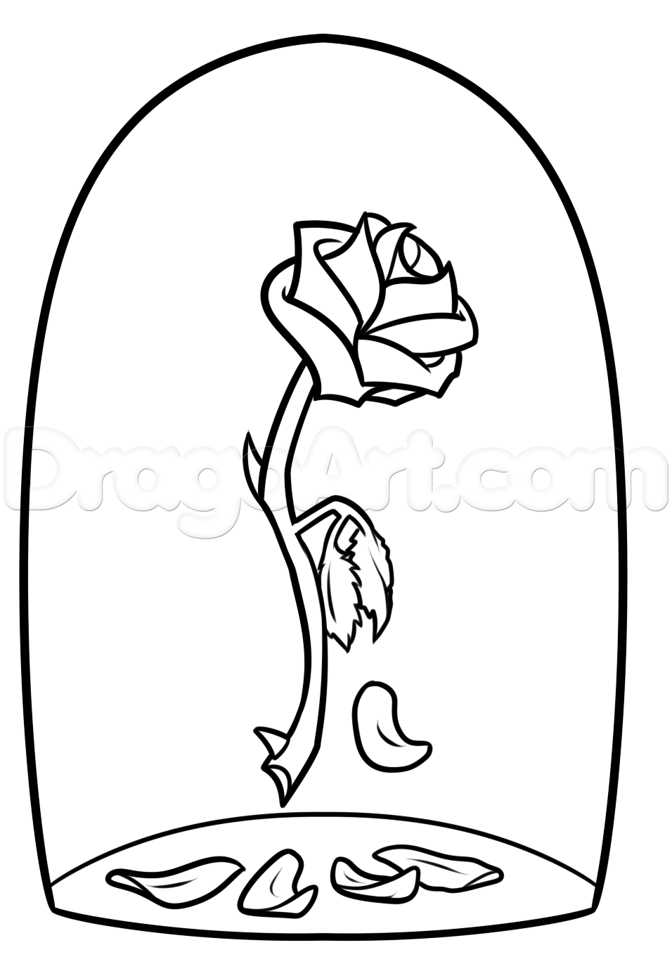 Beauty and the beast flower clipart black and white vector freeuse stock beauty and the beast rose drawing step 7 | Business | Rose drawing ... vector freeuse stock