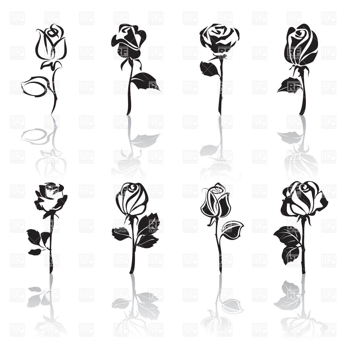 Beauty and the beast flower clipart black and white picture freeuse library Stylized rose silhouette | HTV | Beauty, the beast rose tattoo ... picture freeuse library