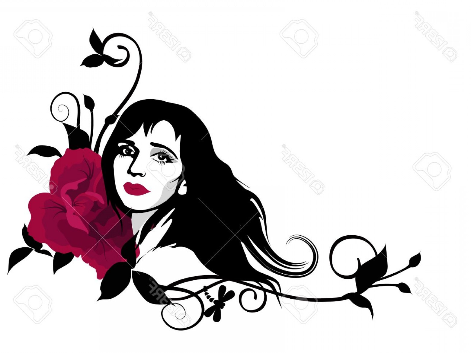 Beauty girl clipart download Photostylish Clipart With Beautiful Girl Face Swirls And Red Rose ... download