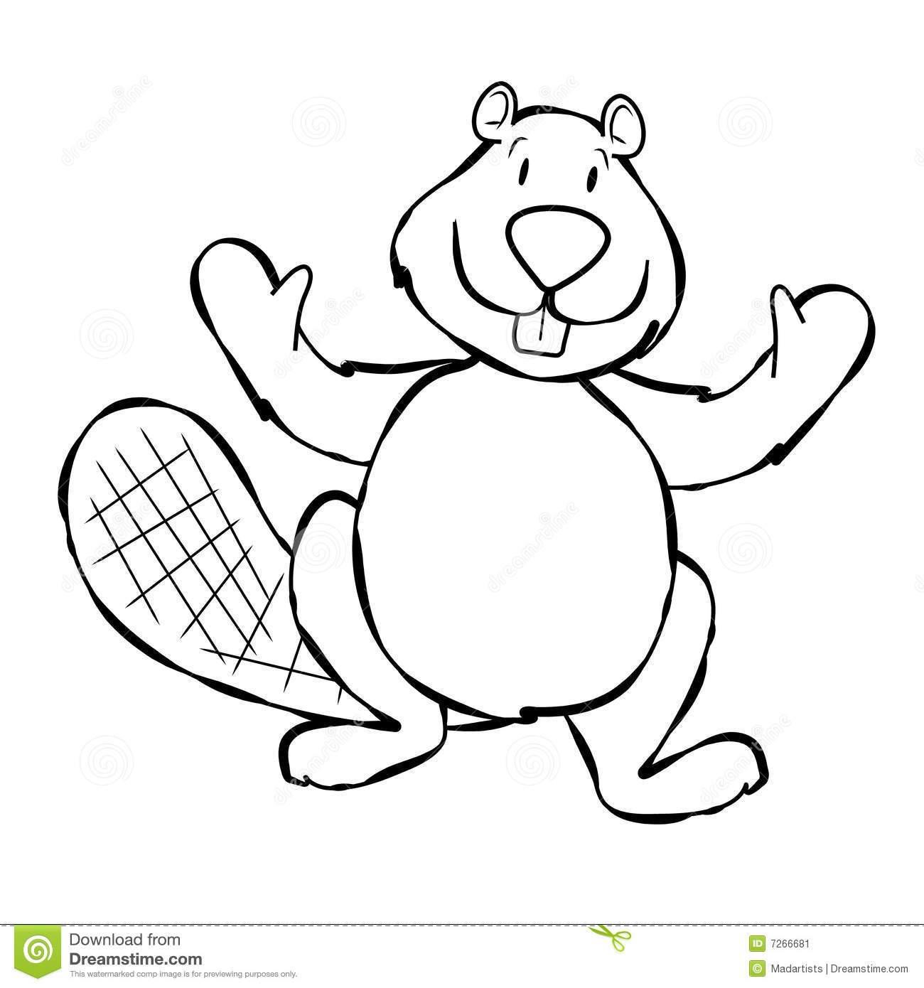 Beaver black and white clipart
